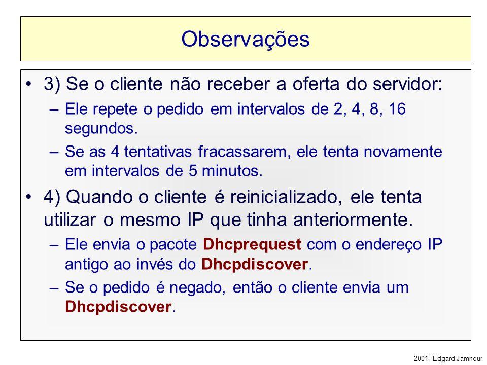2001, Edgard Jamhour Observações 1) O cliente aceita a primeira oferta que receber. –Se houver mais de um servidor DHCP distribuindo endereços IP, não