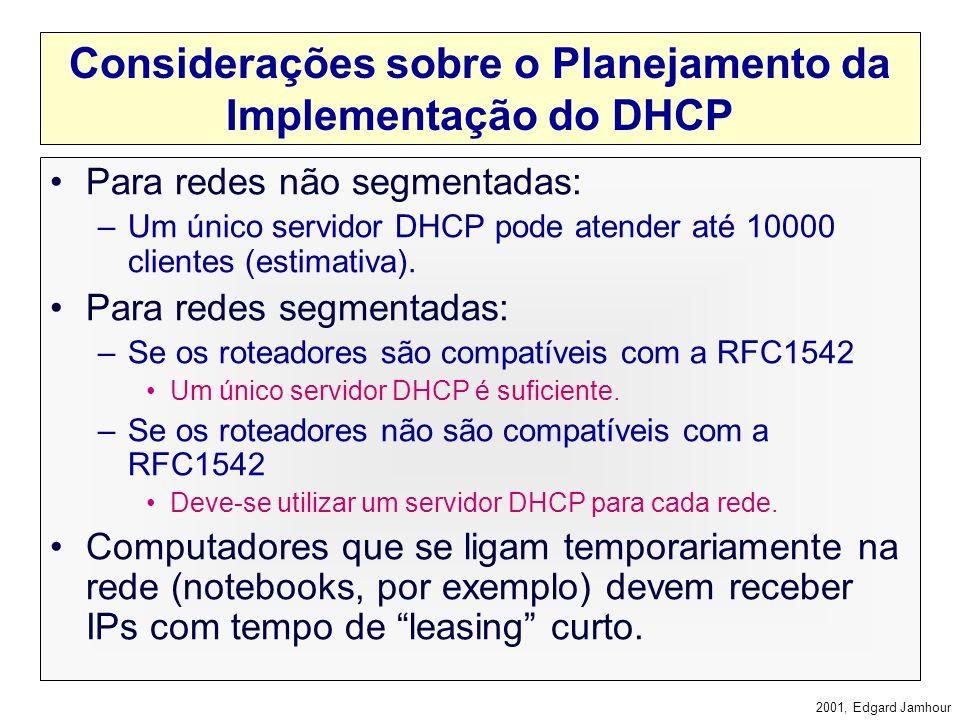 2001, Edgard Jamhour Processo de Atribuição: Outras Vezes Cliente DHCP Servidor DHCP Dhcprequest 200.17.98.1 Dhcpack 200.17.98.1 Todas as mensagens sã