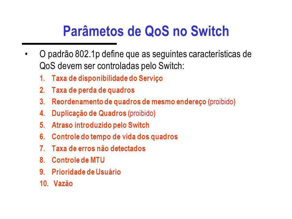 Mapeamento DSCP - COS Para integração com a marcação diff- serv, o switch permite mapear códigos de DSCP em níveis de prioridade. set qos dscp-cos-map