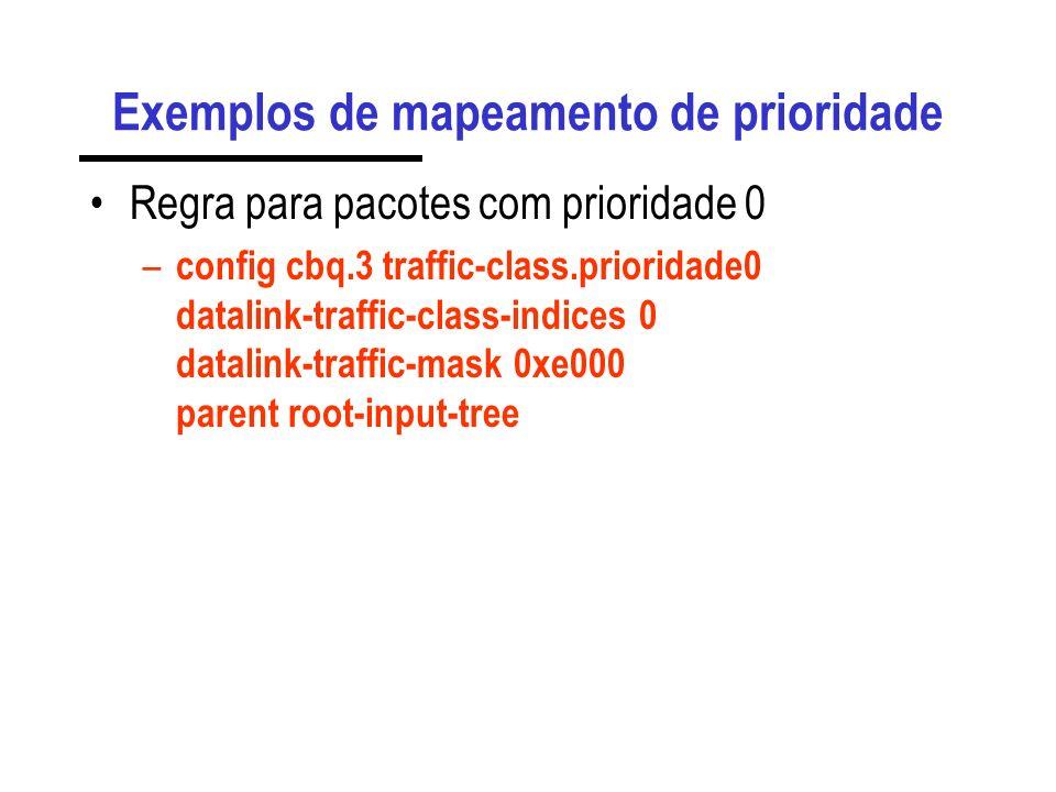 Integração de QoS com VLANs O mapeamento de condições para os campos da VLAN é feito através dos parâmetros: – datalink-traffic-indice e datalink-traf