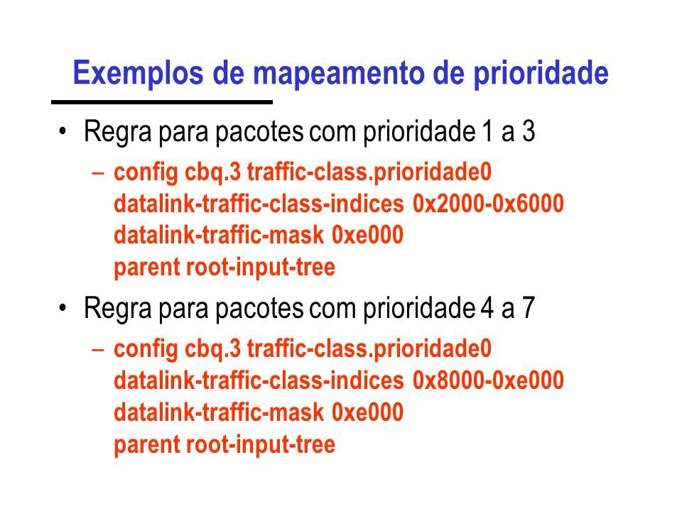 Exemplos de mapeamento de prioridade Regra para pacotes com prioridade 0 – config cbq.3 traffic-class.prioridade0 datalink-traffic-class-indices 0 dat