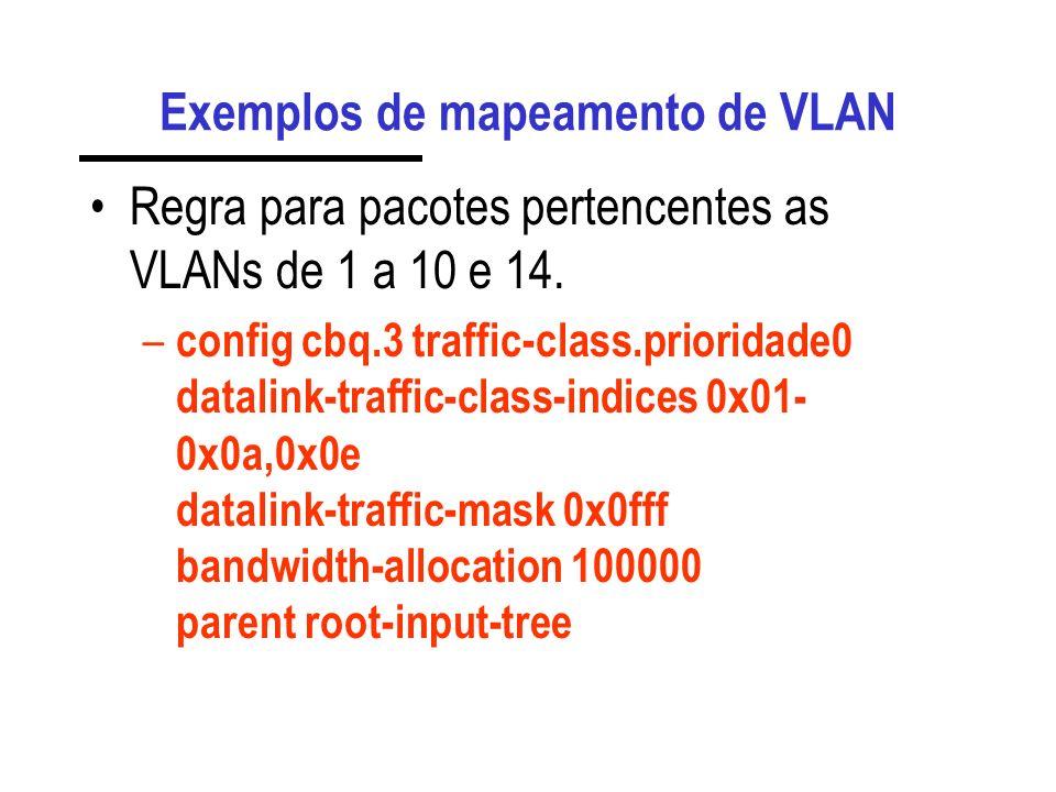 Exemplos de mapeamento de prioridade Regra para pacotes com prioridade 1 a 3 – config cbq.3 traffic-class.prioridade0 datalink-traffic-class-indices 0