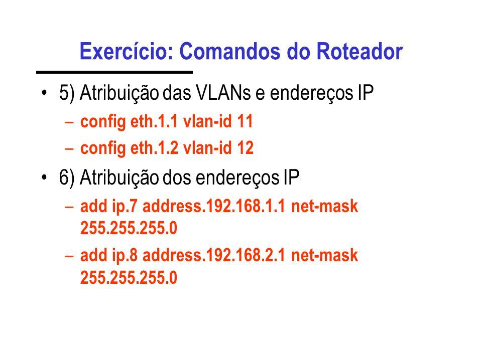 Exercício: Comandos do Roteador 3) Criação das sub-interfaces – stack slot.4.1 cbq.2 eth.1 eth1.new 4) Criação das interfaces IP – stack slot.4.1 cbq.