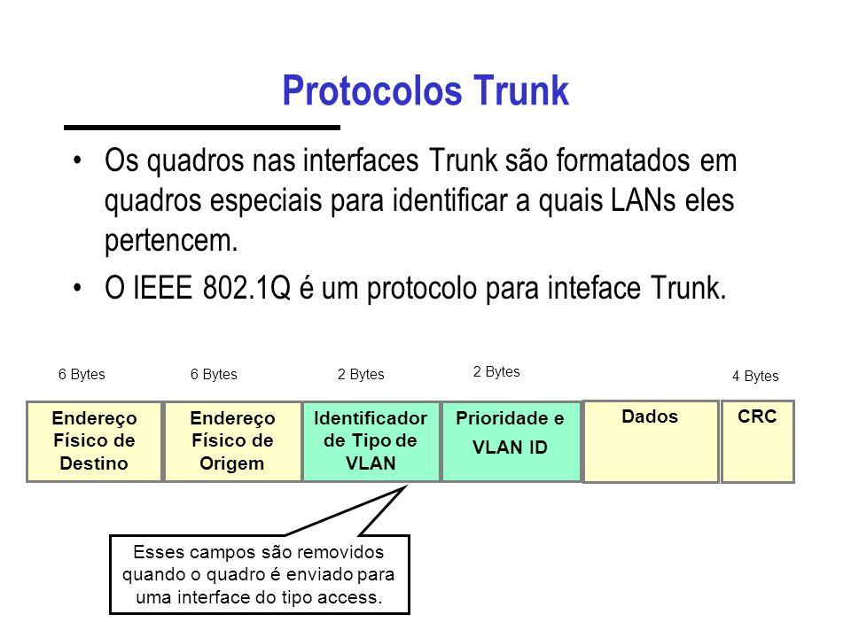 Integração de QoS com VLANs O mapeamento de condições para os campos da VLAN é feito através dos parâmetros: – datalink-traffic-indice e datalink-traffic-mask 1514131211109876543210 prioridadeCFIVLAN ID máscara 0xe000 máscara 0x0fff