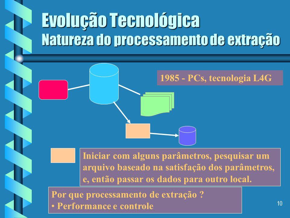 9 Evolução Tecnológica Surgimento de Evolução Tecnológica Surgimento de programas de extração Trata-se de programas mais simples que varrem um arquivo
