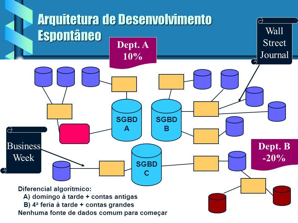 12 Arquitetura de Desenvolvimento Espontâneo Problemas da arquitetura: Problemas da arquitetura: credibilidade dos dados credibilidade dos dados produ
