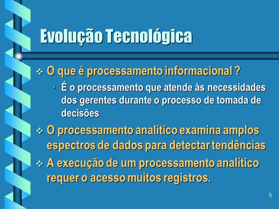 4 Evolução Tecnológica Razões da divisão: operacional vs. informacional Razões da divisão: operacional vs. informacional os dados que atendem as neces