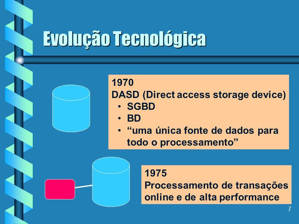 7 Evolução Tecnológica 1970 DASD (Direct access storage device) SGBD BD uma única fonte de dados para todo o processamento 1975 Processamento de transações online e de alta performance