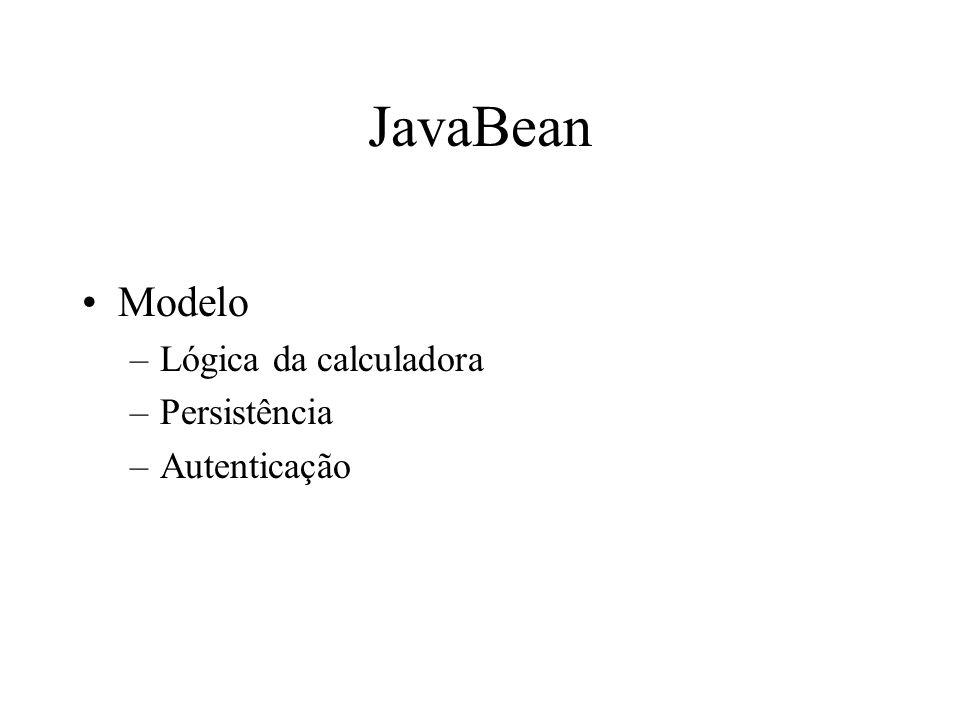 JavaBean Modelo –Lógica da calculadora –Persistência –Autenticação