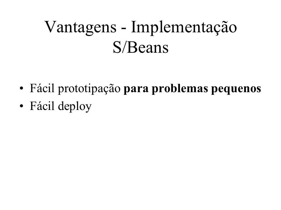 Vantagens - Implementação S/Beans Fácil prototipação para problemas pequenos Fácil deploy