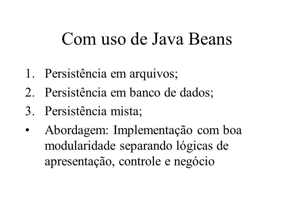 Com uso de Java Beans 1.Persistência em arquivos; 2.Persistência em banco de dados; 3.Persistência mista; Abordagem: Implementação com boa modularidade separando lógicas de apresentação, controle e negócio