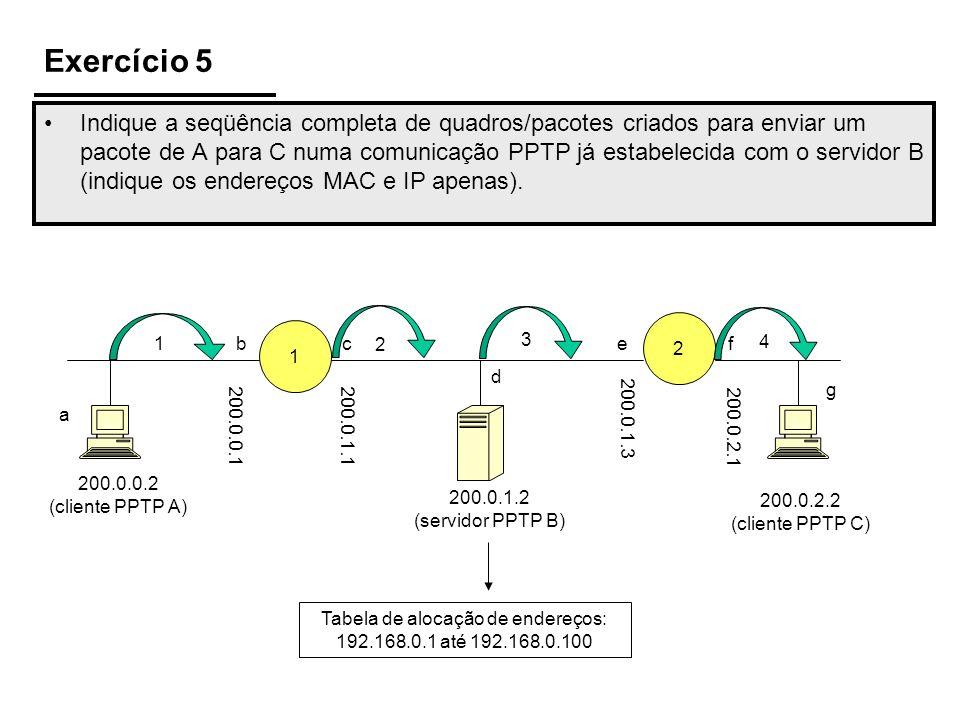 Exercício 5 Indique a seqüência completa de quadros/pacotes criados para enviar um pacote de A para C numa comunicação PPTP já estabelecida com o serv