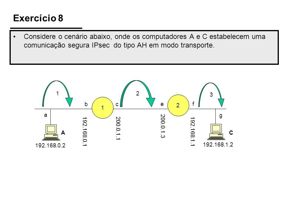Exercício 8 Considere o cenário abaixo, onde os computadores A e C estabelecem uma comunicação segura IPsec do tipo AH em modo transporte. 1 2 192.168