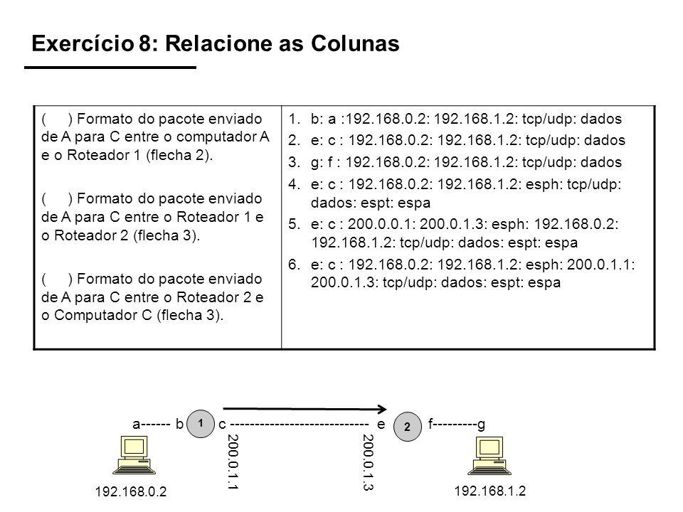 Exercício 8: Relacione as Colunas ( ) Formato do pacote enviado de A para C entre o computador A e o Roteador 1 (flecha 2). ( ) Formato do pacote envi