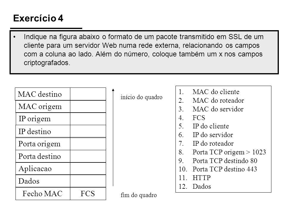 Exercício 4 Indique na figura abaixo o formato de um pacote transmitido em SSL de um cliente para um servidor Web numa rede externa, relacionando os c