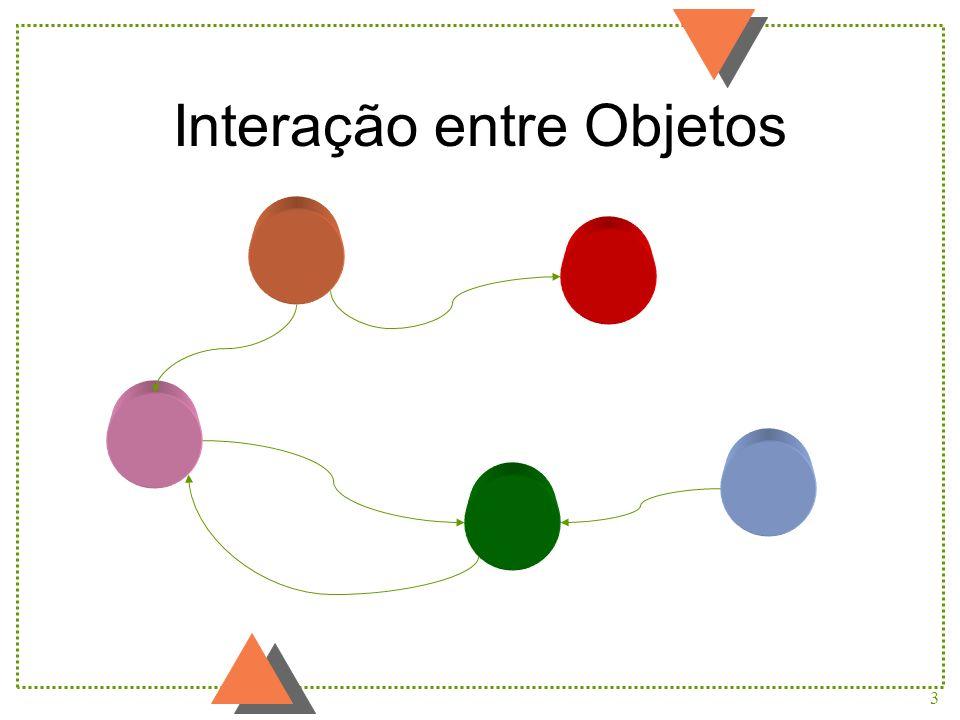 24 :Veículo codigo = 13 hodometro cronometro relogio avance(distancia : int) exiba() comeceCronometro() pareCronometro() zereCronometro() zereHodometro() Veiculo(c : int) :Instante T diferenca(i : Instante) : int digaHoras() : int digaMinutos() : int :Date :Instante T diferenca(i : Instante) : int digaHoras() : int digaMinutos() : int :Date :Instante T diferenca(i : Instante) : int digaHoras() : int digaMinutos() : int :Date :Hodometro kilometragem = 283 momentoZeragem relogio zere() kilometragemMedia() : double avance(distancia : int) exiba() Hodometro(r : Relogio) :Cronometro ativo = true momentoInicio momentoParada relogio comece() pare() exiba() Cronometro(r : Relogio) :Relogio exiba() digaInstante() : Instante Representação de Objetos (usando UML) main