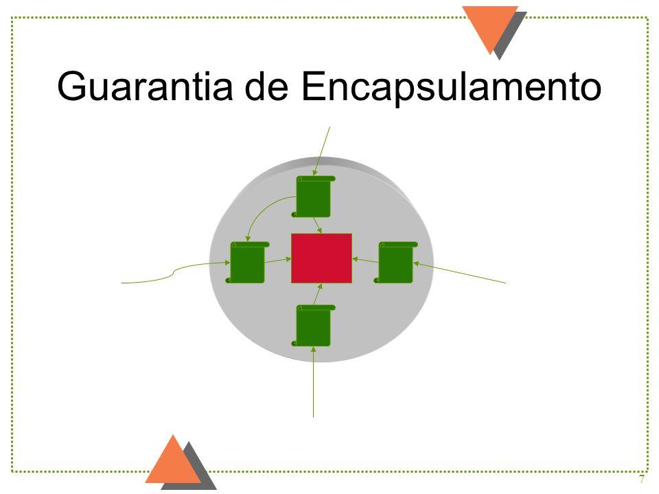 8 Comportamento u O comportamento de um objeto é definido por um conjunto de métodos u Um estímulo causa a execução de um método u Um estímulo pode ser uma invocação explícita de um método ou um evento relevante para o objeto
