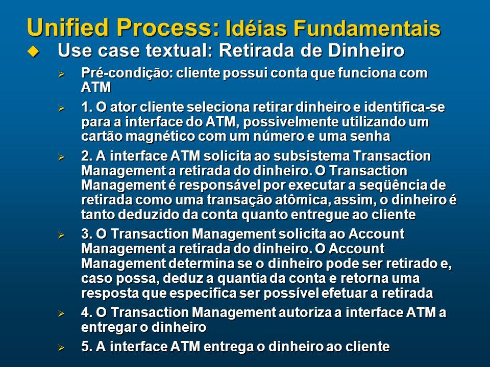 Unified Process: Idéias Fundamentais Use case textual: Retirada de Dinheiro Use case textual: Retirada de Dinheiro Pré-condição: cliente possui conta