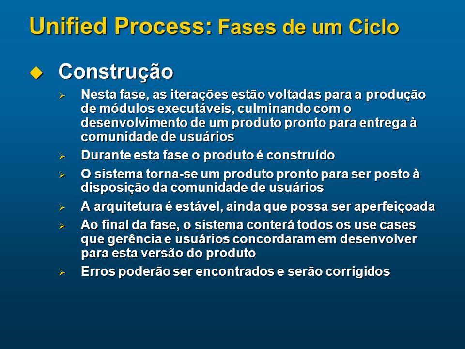 Unified Process: Fases de um Ciclo Construção Construção Nesta fase, as iterações estão voltadas para a produção de módulos executáveis, culminando co