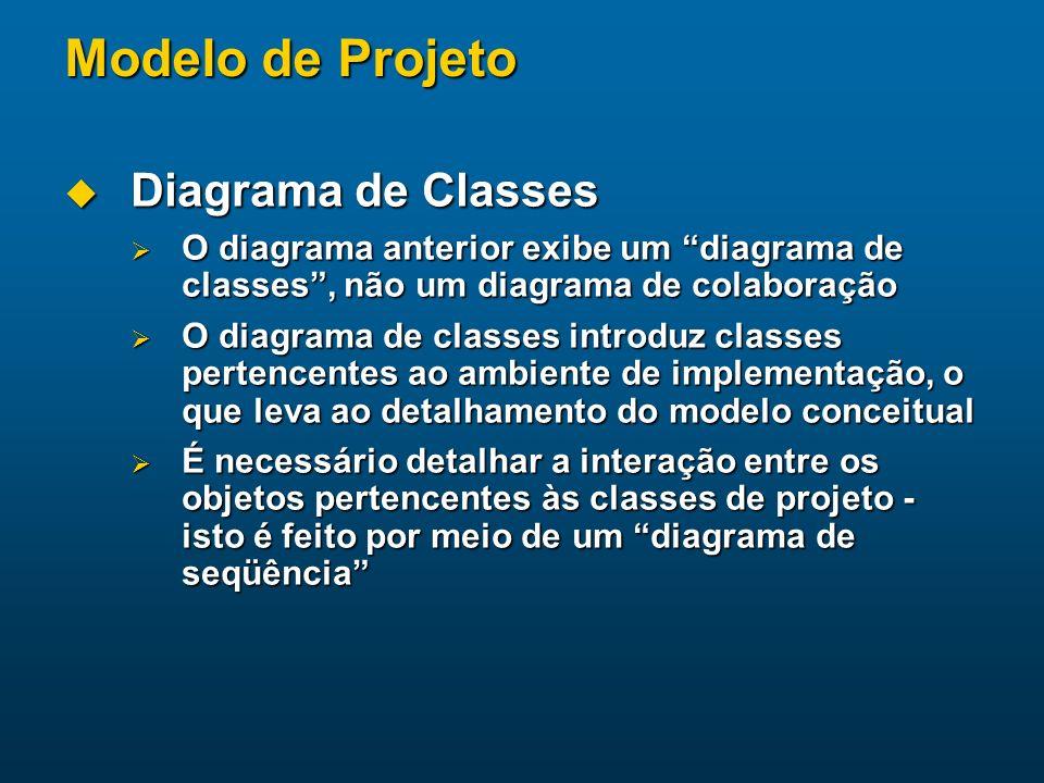 Modelo de Projeto Diagrama de Classes Diagrama de Classes O diagrama anterior exibe um diagrama de classes, não um diagrama de colaboração O diagrama