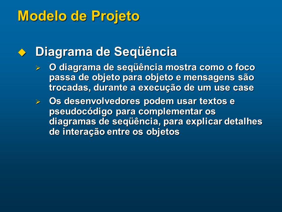 Modelo de Projeto Diagrama de Seqüência Diagrama de Seqüência O diagrama de seqüência mostra como o foco passa de objeto para objeto e mensagens são t