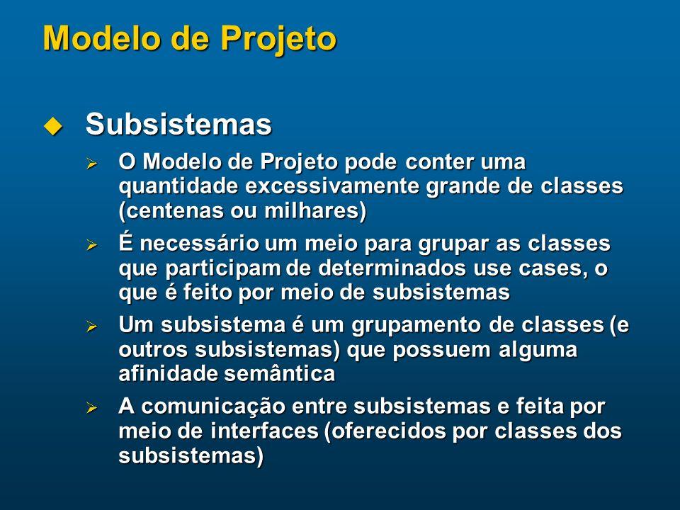 Modelo de Projeto Subsistemas Subsistemas O Modelo de Projeto pode conter uma quantidade excessivamente grande de classes (centenas ou milhares) O Mod