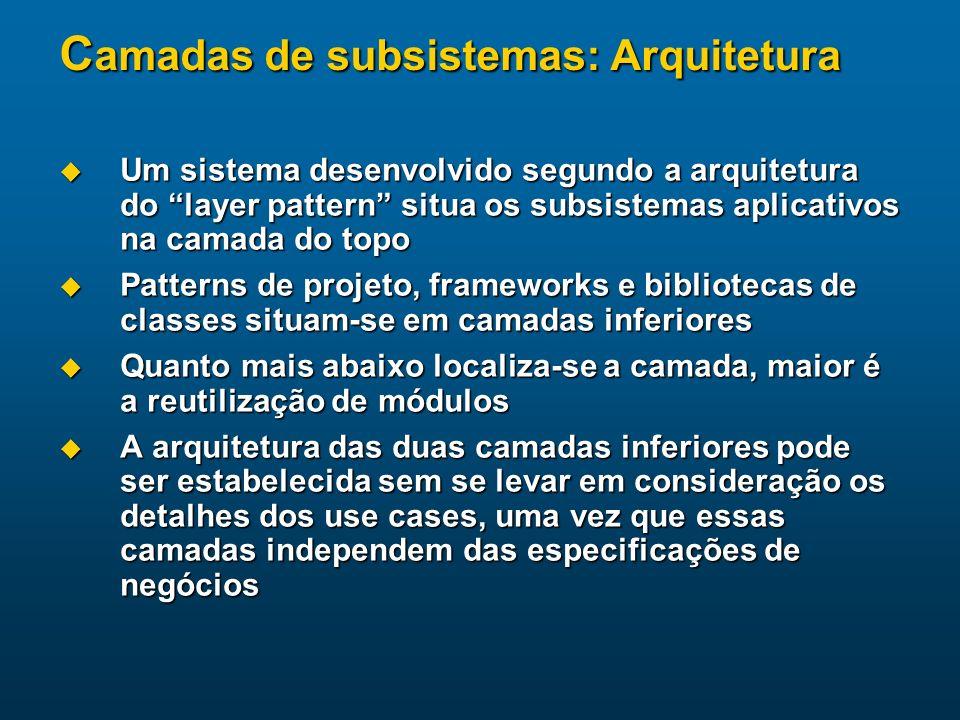 C amadas de subsistemas: Arquitetura Um sistema desenvolvido segundo a arquitetura do layer pattern situa os subsistemas aplicativos na camada do topo