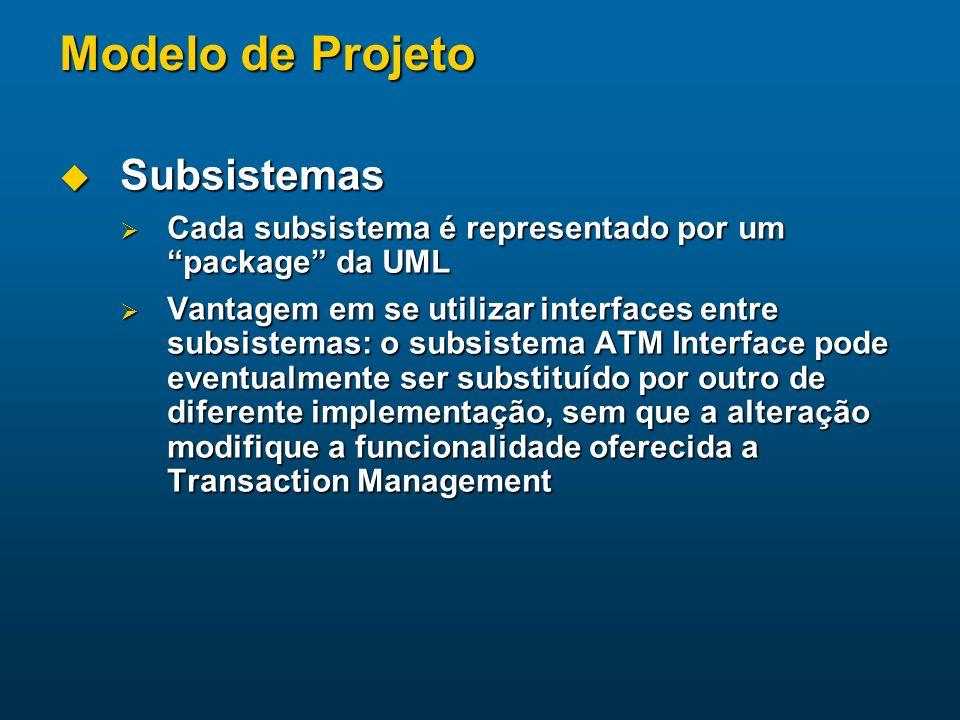Modelo de Projeto Subsistemas Subsistemas Cada subsistema é representado por um package da UML Cada subsistema é representado por um package da UML Va
