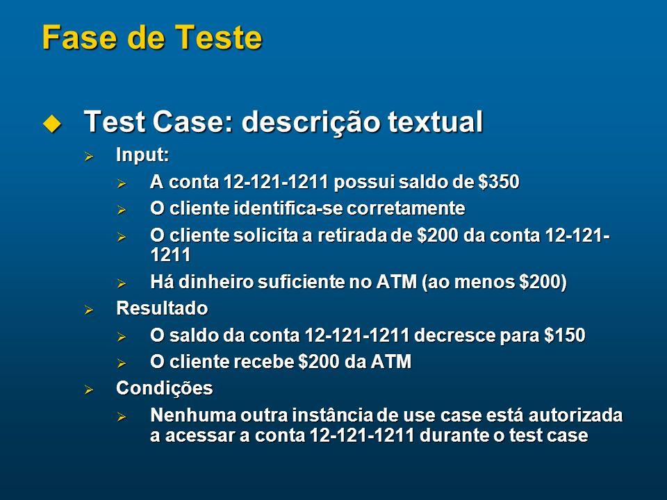 Fase de Teste Test Case: descrição textual Test Case: descrição textual Input: Input: A conta 12-121-1211 possui saldo de $350 A conta 12-121-1211 pos