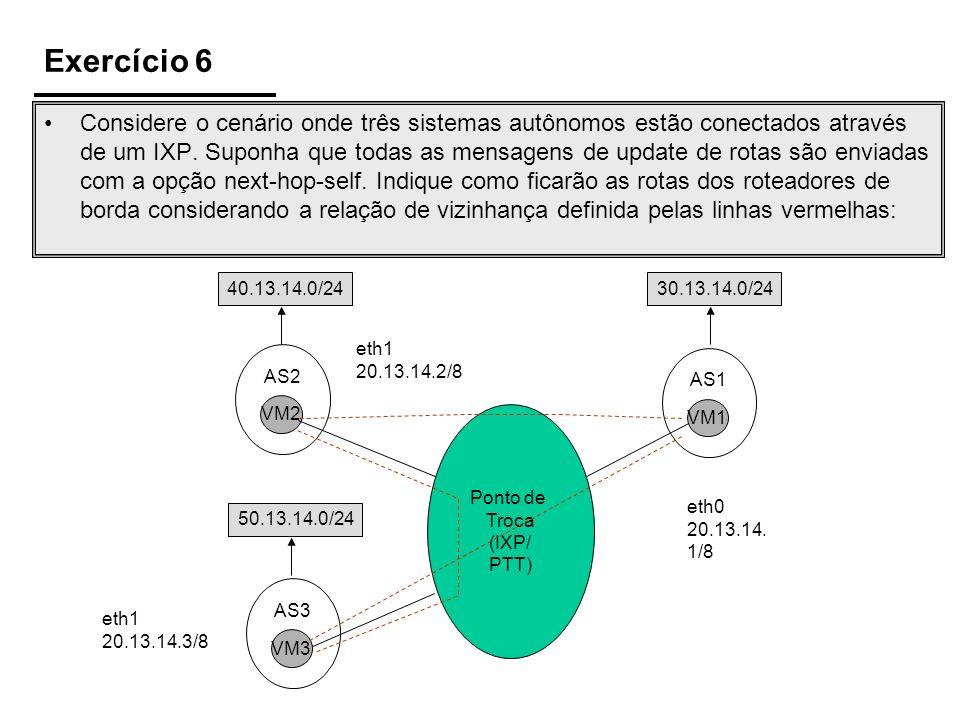 Exercício 6 Ponto de Troca (IXP/ PTT) VM2 AS2 VM3 AS3 VM1 AS1 50.13.14.0/24 eth0 20.13.14. 1/8 eth1 20.13.14.3/8 eth1 20.13.14.2/8 40.13.14.0/2430.13.