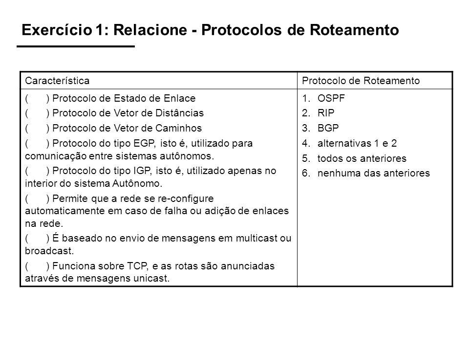 Exercício 2: Relacione: Diferenças entre RIP e OSPF CaracterísticaProtocolo de Roteamento ( ) O custo das rotas é calculado apenas em função do número de saltos, isto é, quanto mais saltos tiver a rota, maior o custo.