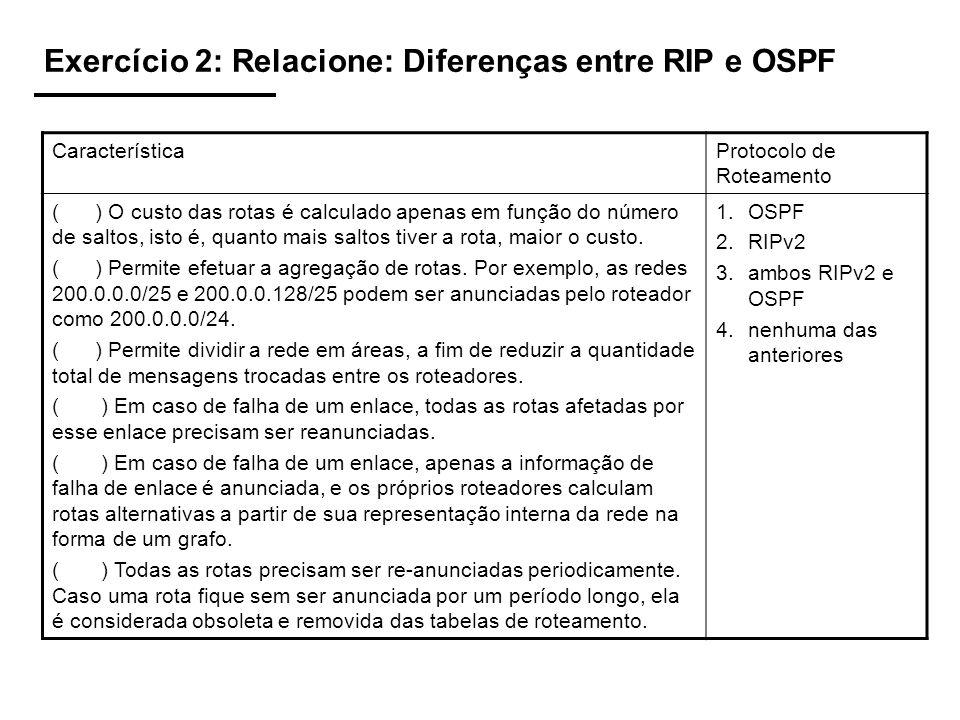 Exercício 2: Relacione: Diferenças entre RIP e OSPF CaracterísticaProtocolo de Roteamento ( ) O custo das rotas é calculado apenas em função do número