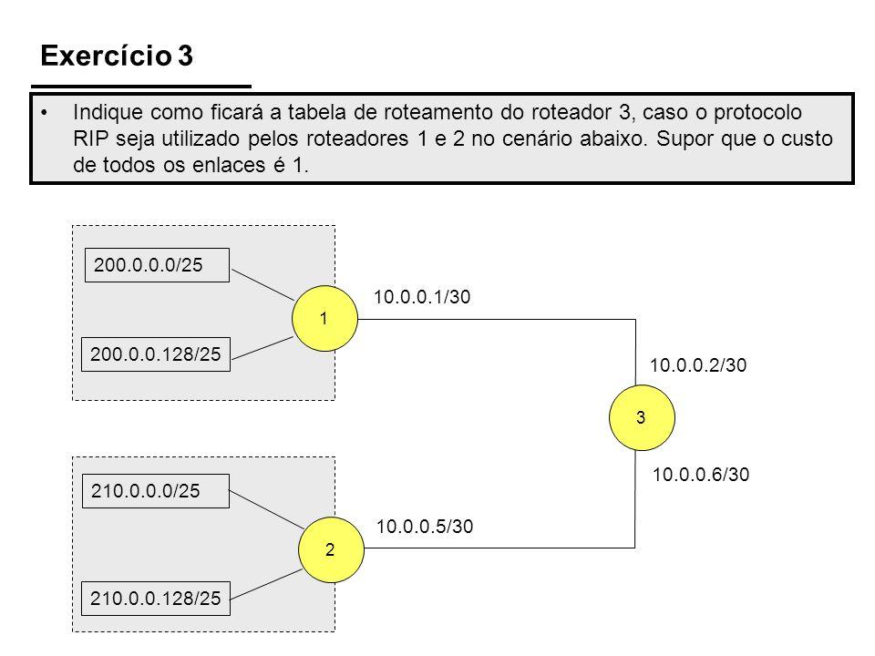 Exercício 3 Indique como ficará a tabela de roteamento do roteador 3, caso o protocolo RIP seja utilizado pelos roteadores 1 e 2 no cenário abaixo. Su