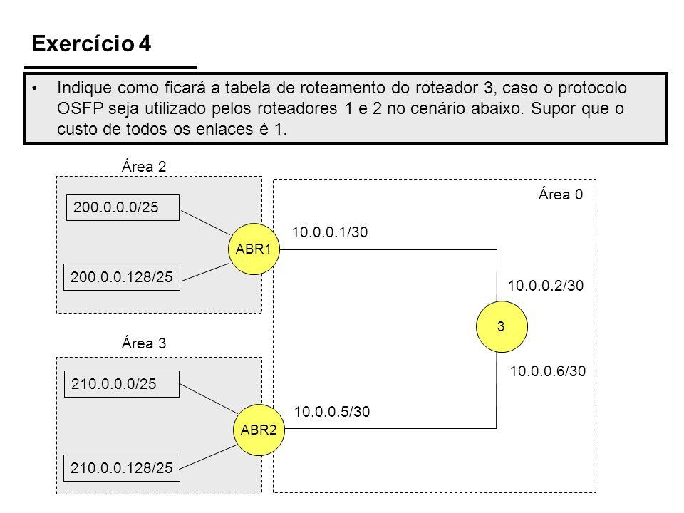 Exercício 4 Indique como ficará a tabela de roteamento do roteador 3, caso o protocolo OSFP seja utilizado pelos roteadores 1 e 2 no cenário abaixo. S