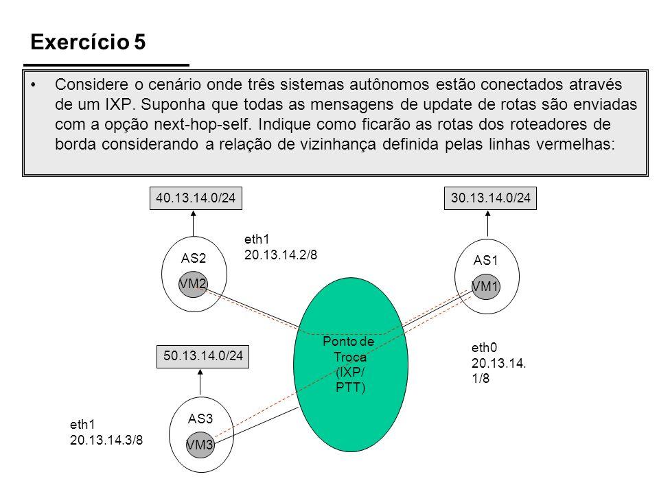 Exercício 5 Ponto de Troca (IXP/ PTT) VM2 AS2 VM3 AS3 VM1 AS1 50.13.14.0/24 eth0 20.13.14. 1/8 eth1 20.13.14.3/8 eth1 20.13.14.2/8 40.13.14.0/2430.13.