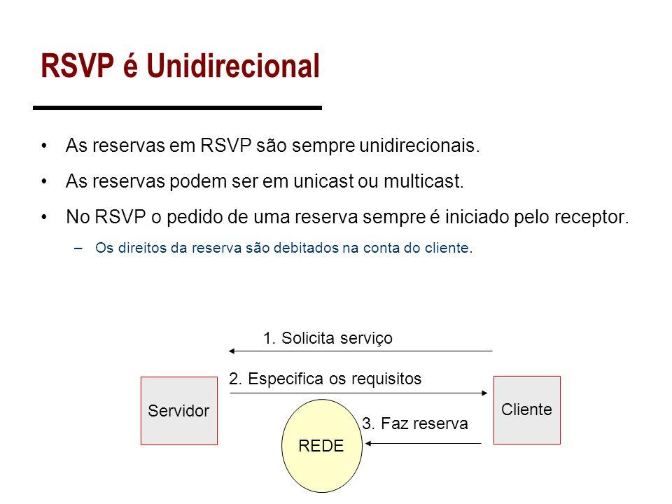 RSVP é Unidirecional As reservas em RSVP são sempre unidirecionais. As reservas podem ser em unicast ou multicast. No RSVP o pedido de uma reserva sem