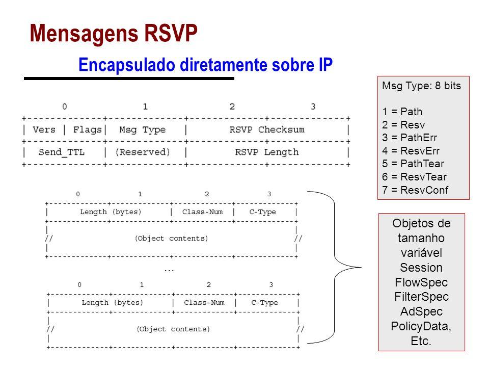 Mensagens RSVP Encapsulado diretamente sobre IP Msg Type: 8 bits 1 = Path 2 = Resv 3 = PathErr 4 = ResvErr 5 = PathTear 6 = ResvTear 7 = ResvConf... O