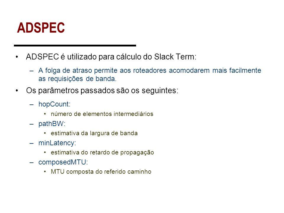 ADSPEC ADSPEC é utilizado para cálculo do Slack Term: –A folga de atraso permite aos roteadores acomodarem mais facilmente as requisições de banda. Os