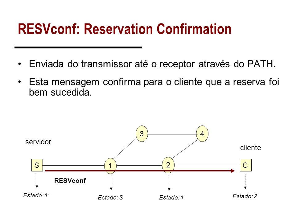 RESVconf: Reservation Confirmation Enviada do transmissor até o receptor através do PATH. Esta mensagem confirma para o cliente que a reserva foi bem