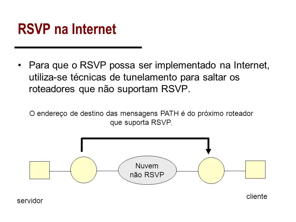 RSVP na Internet Para que o RSVP possa ser implementado na Internet, utiliza-se técnicas de tunelamento para saltar os roteadores que não suportam RSV