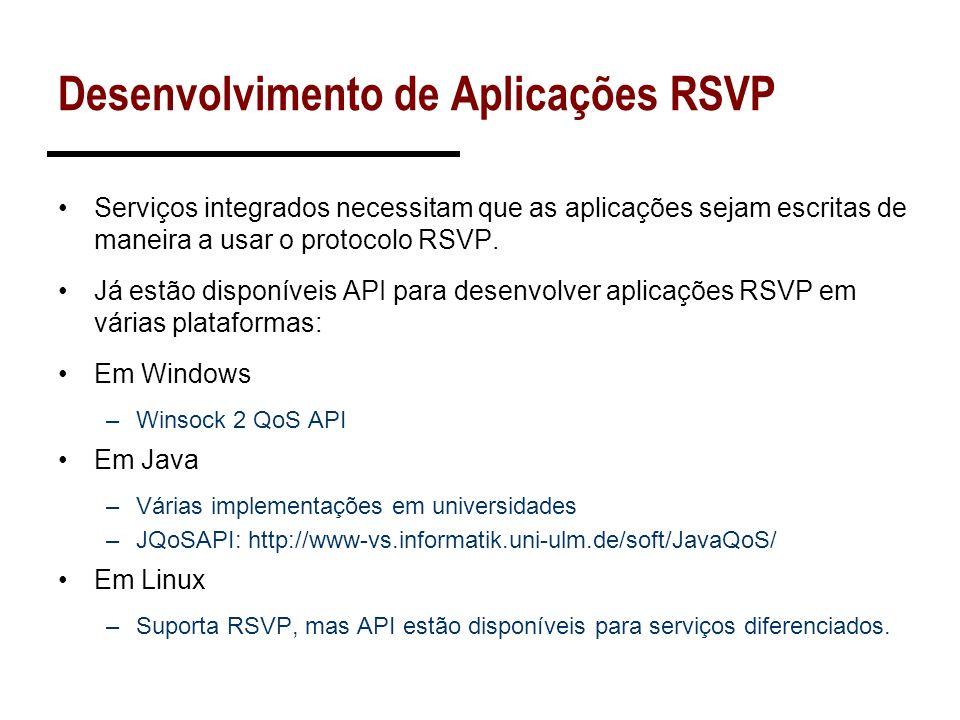 Desenvolvimento de Aplicações RSVP Serviços integrados necessitam que as aplicações sejam escritas de maneira a usar o protocolo RSVP. Já estão dispon
