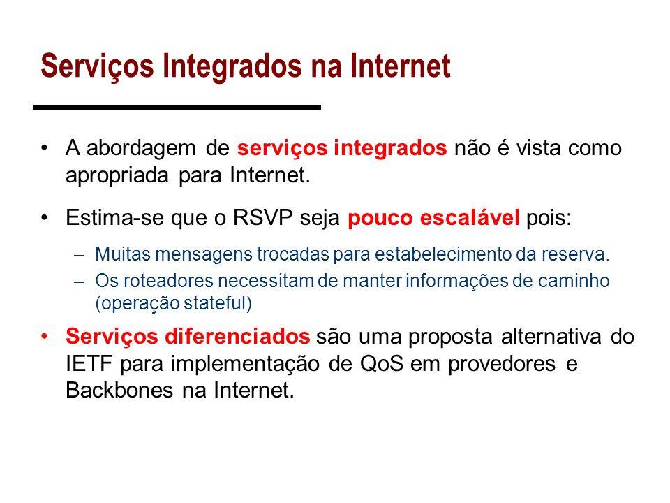 Serviços Integrados na Internet A abordagem de serviços integrados não é vista como apropriada para Internet. Estima-se que o RSVP seja pouco escaláve