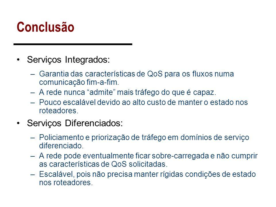 Conclusão Serviços Integrados: –Garantia das características de QoS para os fluxos numa comunicação fim-a-fim. –A rede nunca admite mais tráfego do qu