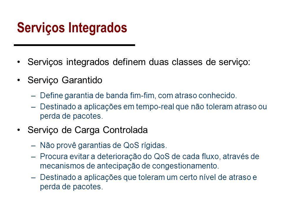 Serviços Integrados Serviços integrados definem duas classes de serviço: Serviço Garantido –Define garantia de banda fim-fim, com atraso conhecido. –D