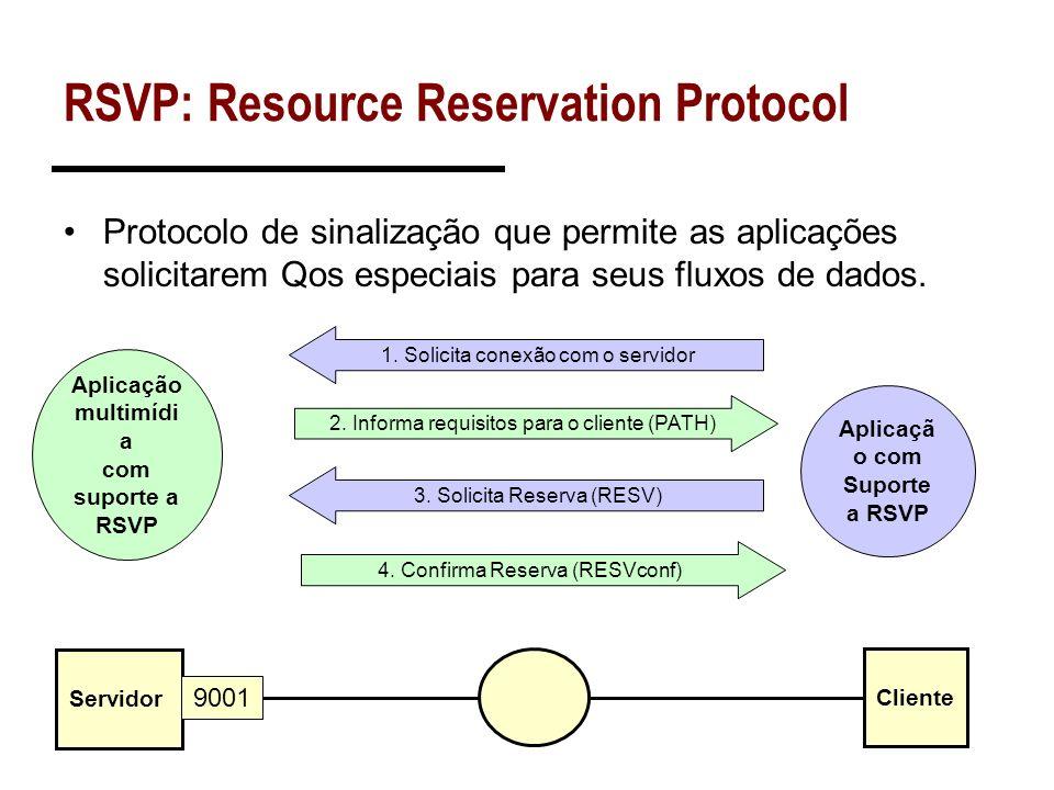 Mensagens RSVP Encapsulado diretamente sobre IP Msg Type: 8 bits 1 = Path 2 = Resv 3 = PathErr 4 = ResvErr 5 = PathTear 6 = ResvTear 7 = ResvConf...