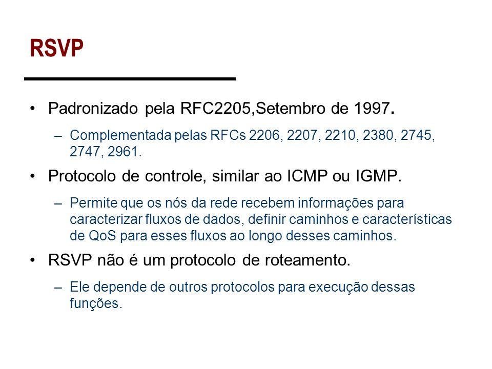 RSVP Padronizado pela RFC2205,Setembro de 1997. –Complementada pelas RFCs 2206, 2207, 2210, 2380, 2745, 2747, 2961. Protocolo de controle, similar ao