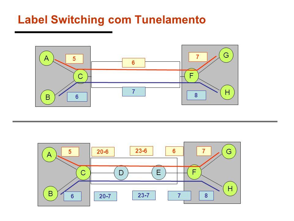 Label Switching com Tunelamento A C 5 B D E F H G 7 6 8 A C 5 B D E F H G 20-6 23-6 67 620-7 23-7 78 6 7