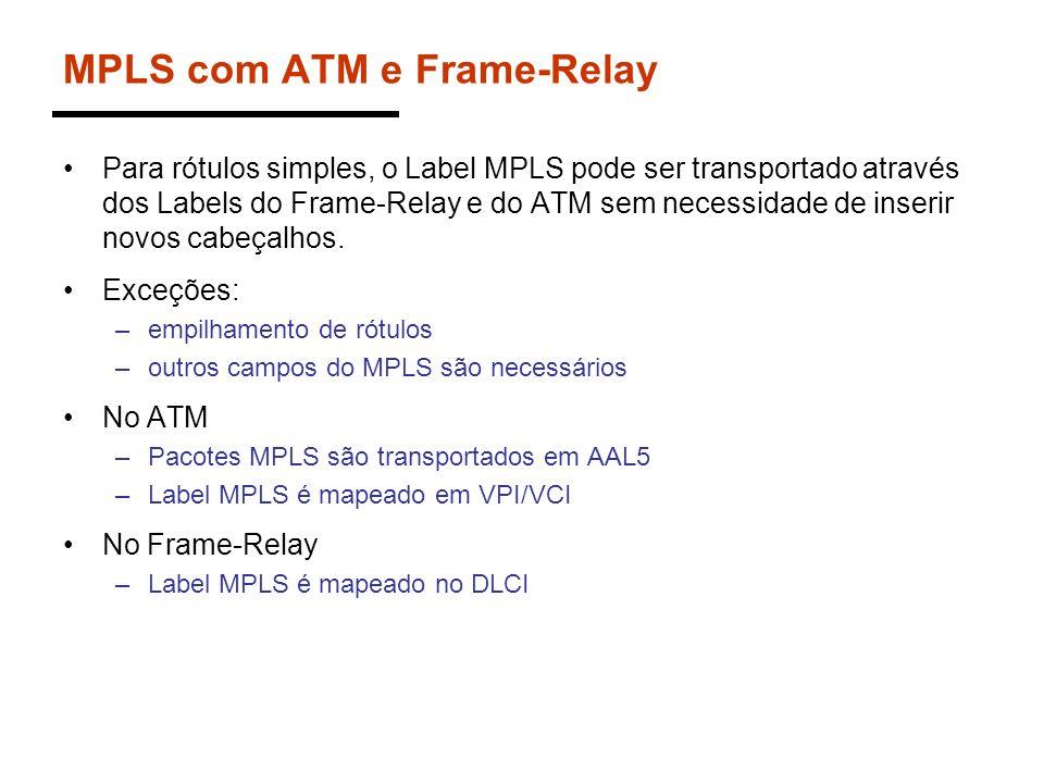 MPLS com ATM e Frame-Relay Para rótulos simples, o Label MPLS pode ser transportado através dos Labels do Frame-Relay e do ATM sem necessidade de inse