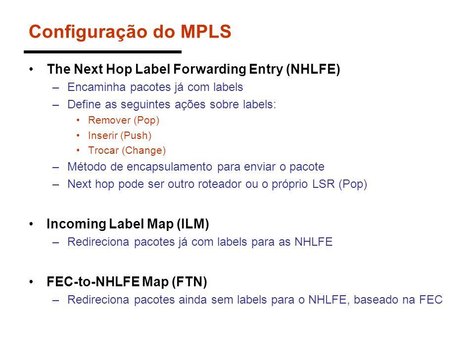 Configuração do MPLS The Next Hop Label Forwarding Entry (NHLFE) –Encaminha pacotes já com labels –Define as seguintes ações sobre labels: Remover (Po