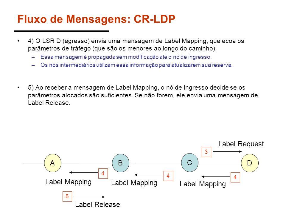 Fluxo de Mensagens: CR-LDP 4) O LSR D (egresso) envia uma mensagem de Label Mapping, que ecoa os parâmetros de tráfego (que são os menores ao longo do
